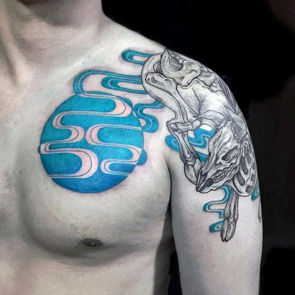 Blue Ink Abstract Taurus Bull Skeleton Mens Arm And Chest Tattoo