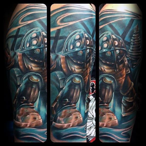 Blue Ink Bioshock Male Video Game Sleeve Tattoo Ideas