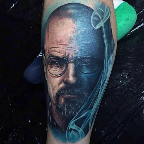 Blue Ink Breaking Bad Male Leg Tattoos