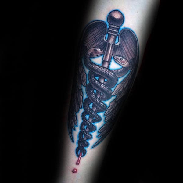 Blue Ink Caduceus Mens Forearm Tattoos