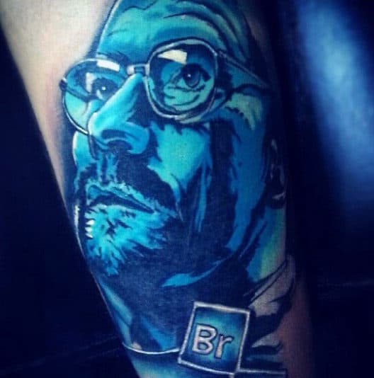 Blue Ink Design Male Breaking Bad Arm Tattoo Inspiration