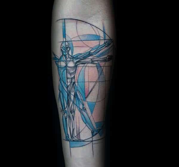 Blue Ink Geometric Vitruvian Man Male Inner Forearm Tattoo Design Ideas