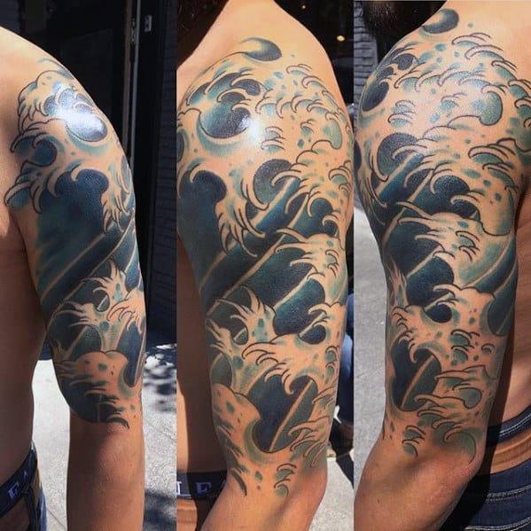 Blue Ink Guys Japanese Wave Half Sleeve Tattoo Designs