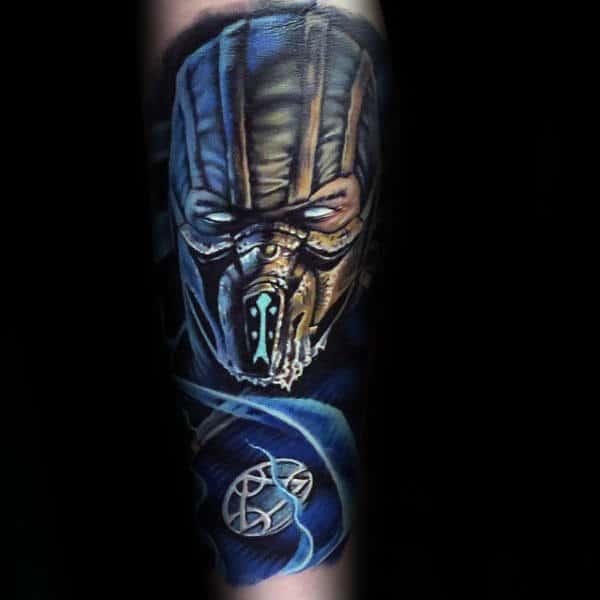 Blue Ink Guys Mortal Kombat Sub Zero Themed Sleeve Tattoo On Forearm