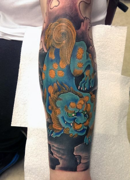 Blue Ink Japanese Guys Forearm Sleeve Designs For Tattoos