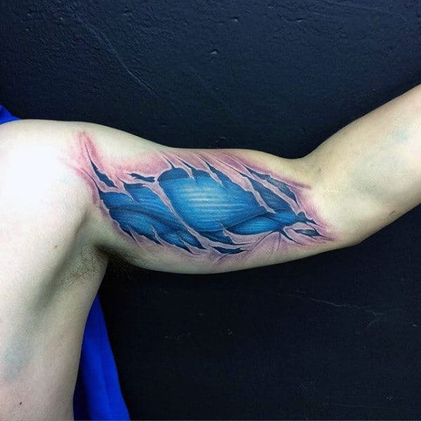 Blue Ink Mens Muscle Bicep Tattoos