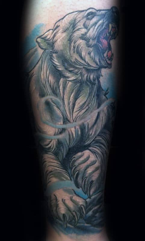 Blue Ink Shaded Polar Bear Male Forearm Tattoos