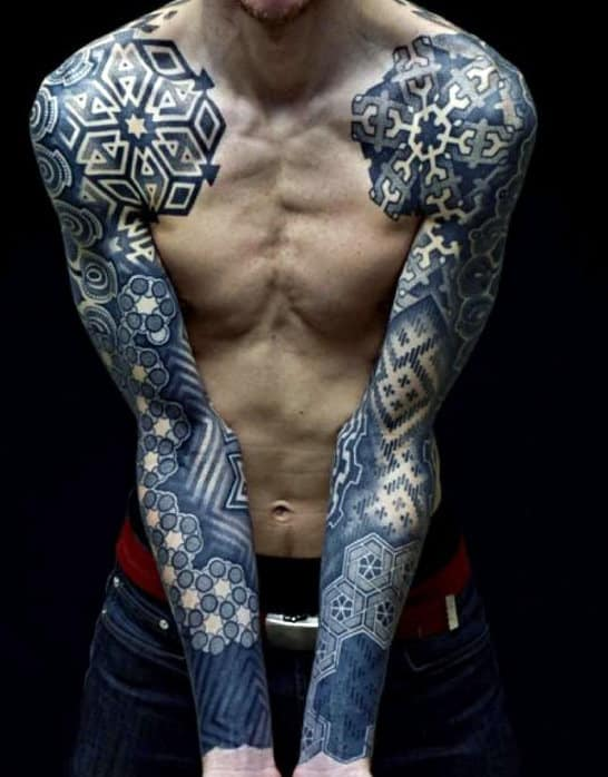 Blue Ink Sleeve Sacred Geometry Tattoos