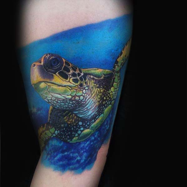 Blue Ink Swimming Turtle Realistic Mens Arm Tattoos