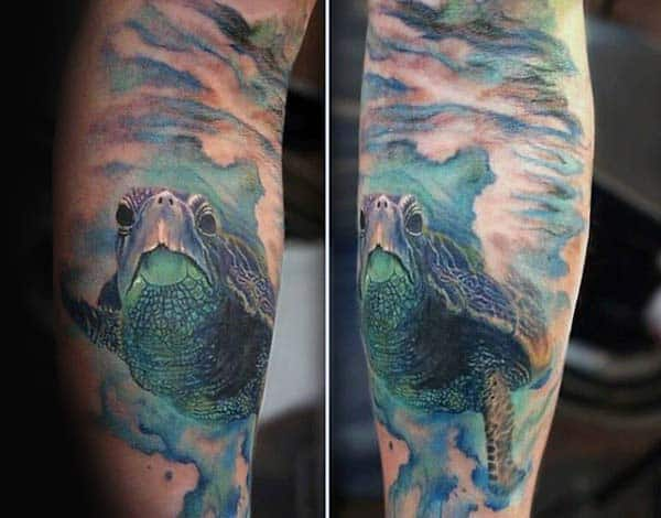 Blue Ink Turtle Watercolor Mens Arm Tattoo Design Ideas