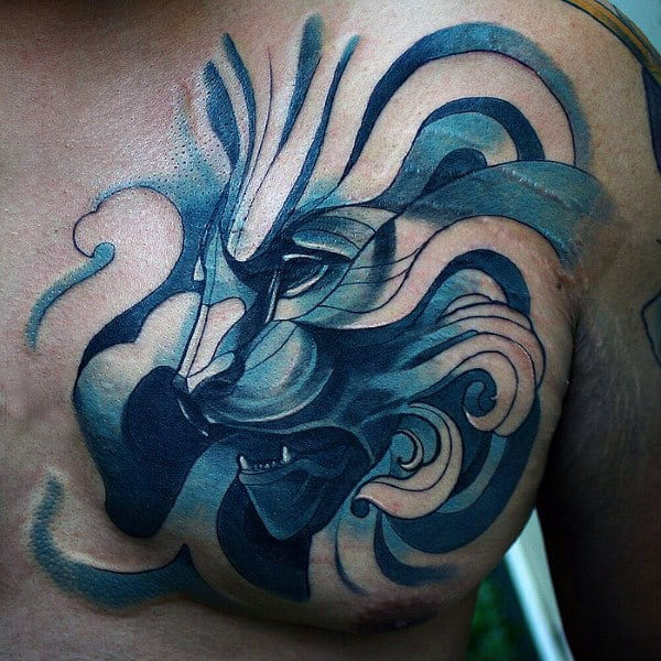 Blue Ink Watercolor Male Creative Lion Chest Tattoos