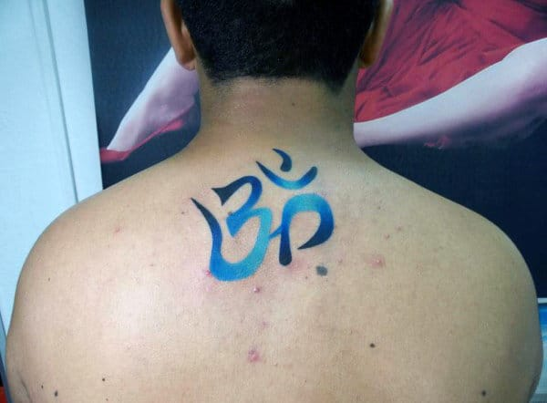 Blue Ink Watercolor Om Tattoos For Males On Upper Back