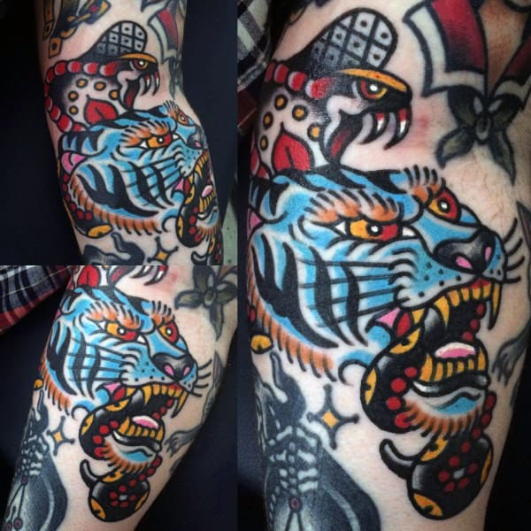 Blue Jaguar And Eagle Traditonal Tattoo Guys Sleeves