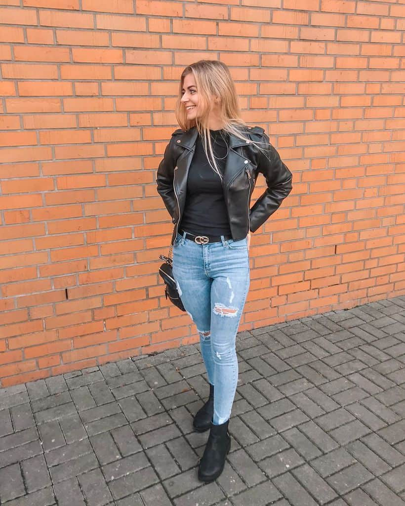 Blue Jeans Blonde Hair Outfit