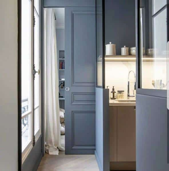 Blue Kitchen Pantry Ideas For Pocket Door Interior