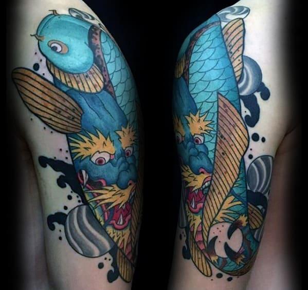 Blue Koi Fish Dragon Arm Tattoo For Men