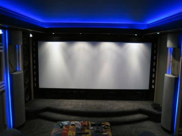 Blue Led Crown Molding Lighting Ideas Movie Room