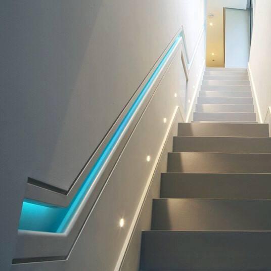 Blue Led Railing Luxury Staircase Lighting