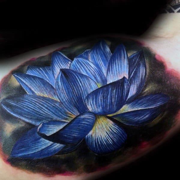 Blue Lotus Flower Male Inner Arm Tattoo Inspiration