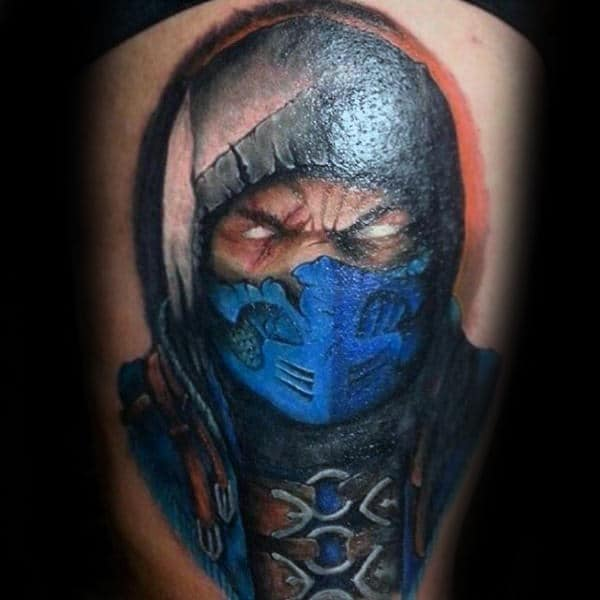 Blue Masked Mortal Kombat Mens Thigh Tattoos