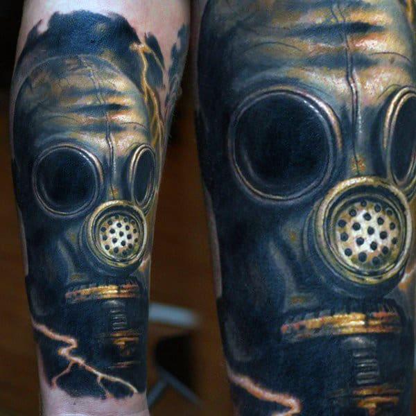 Blue Mens Wrist Gas Mask Tattoos