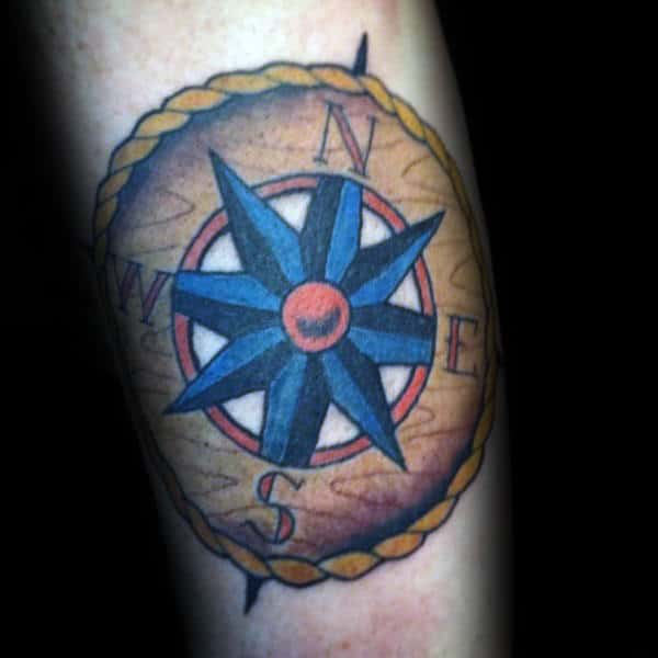 Blue Nautical Star Traditional Compass Mens Arm Tattoo