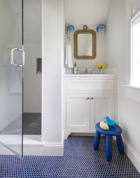 Blue Navy Bathroom Floor Tiles