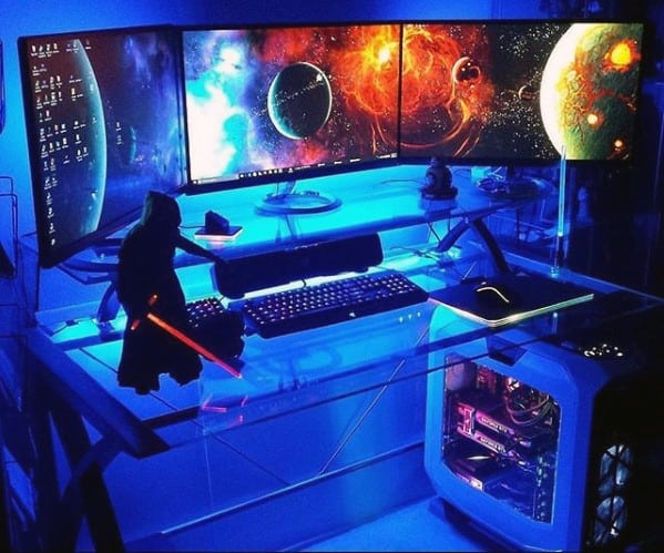 Blue Neon Light Pc Desktop Gaming Man Cave