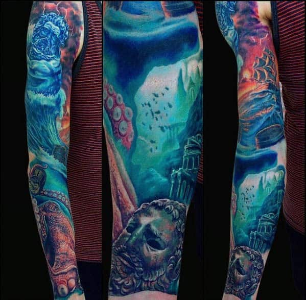 Blue Ocean Mens Full Arm Sleeve Tattoo