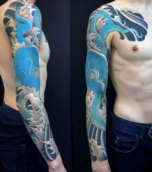 Blue Octopus Awesome Japanese Sleeve Tattoos For Men