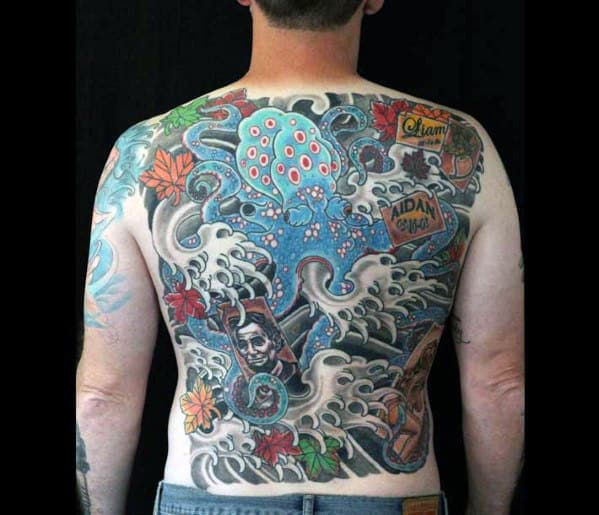 Blue Octopus Mens Japanese Nautical Full Back Tattoo