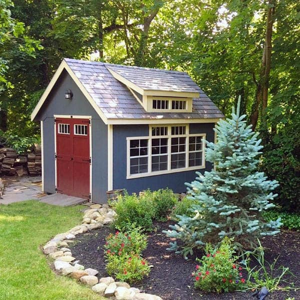 Blue Painted Backyard Shed Idea Inspiration