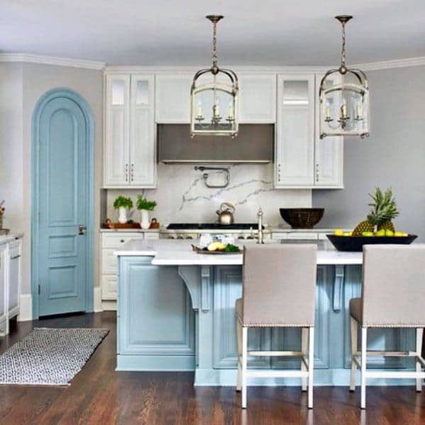 Blue Painted Curved Awesome Kitchen Pantry Door Ideas