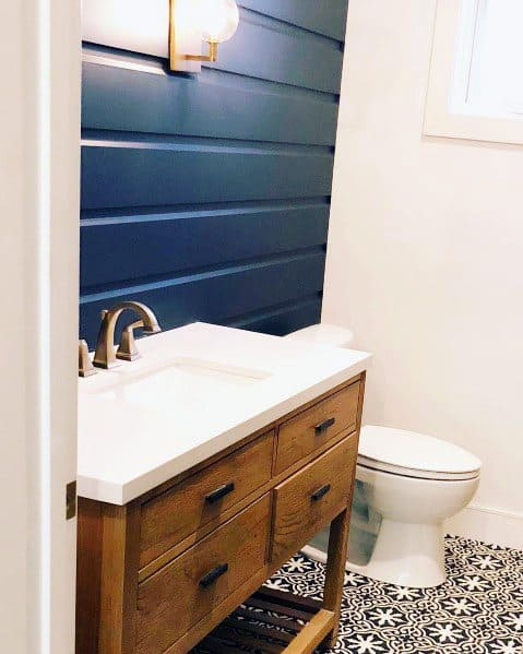 Blue Painted Ideas For Shiplap Wall Interior In Half Bath