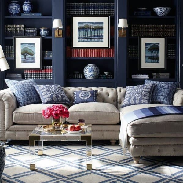 Blue Painted Living Room Floor To Ceiling Bookshelves Interior Ideas
