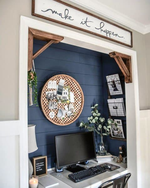Blue Painted Shiplap Walls Interior Designs Closet Office