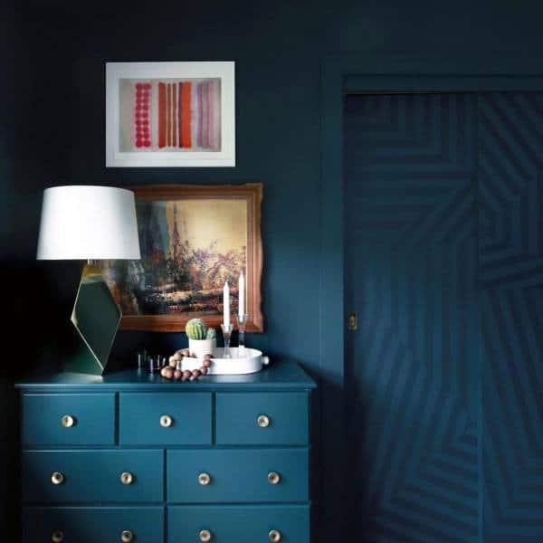 Blue Pattern Bedroom Closet Door Ideas
