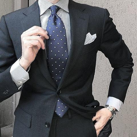 Blue Polka Dot Tie Mens Clothing Black Suit Styles