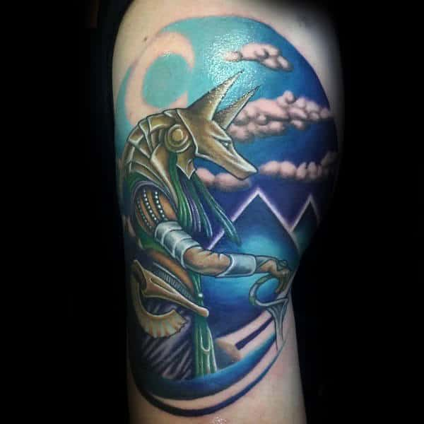 Blue Pyramids Anubis Mens Arm Tattoos
