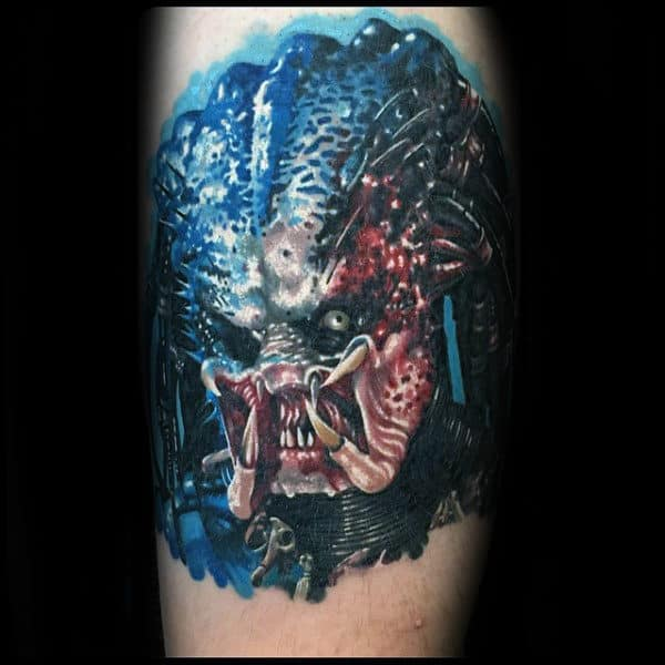 Blue Red And White Ink Guys Predator Arm Tattoos
