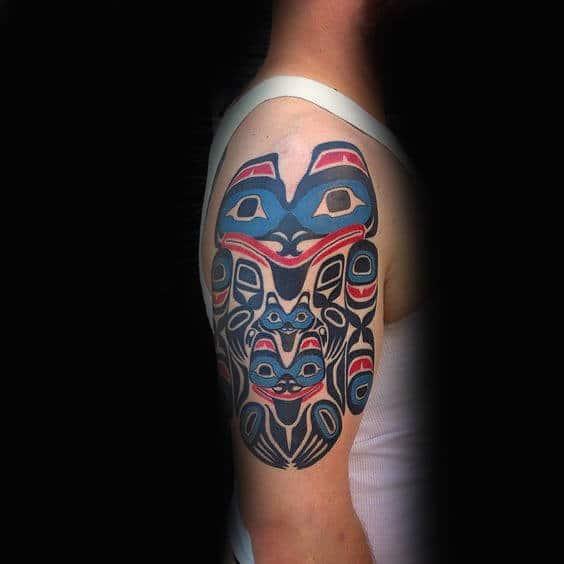 Blue Red Haida Group Tattoo
