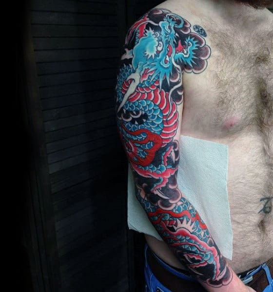 Blue Red Japanese Sleeve Tattoof For Men