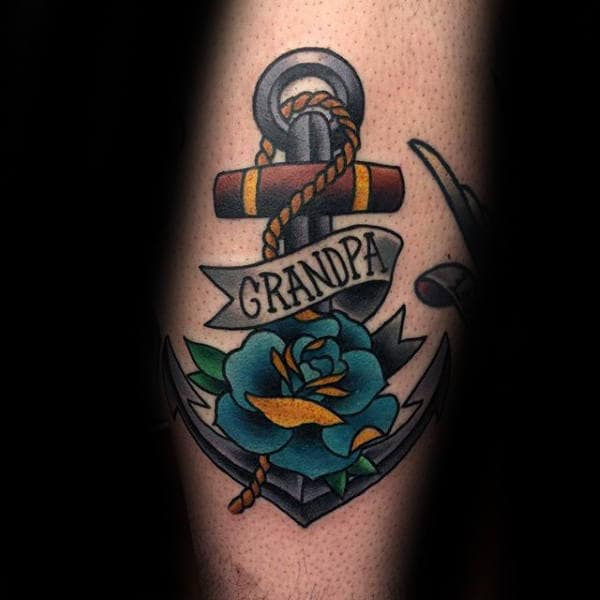 Blue Rose Flower With Anchor And Grandpa Banner Mens Arm Tattoos