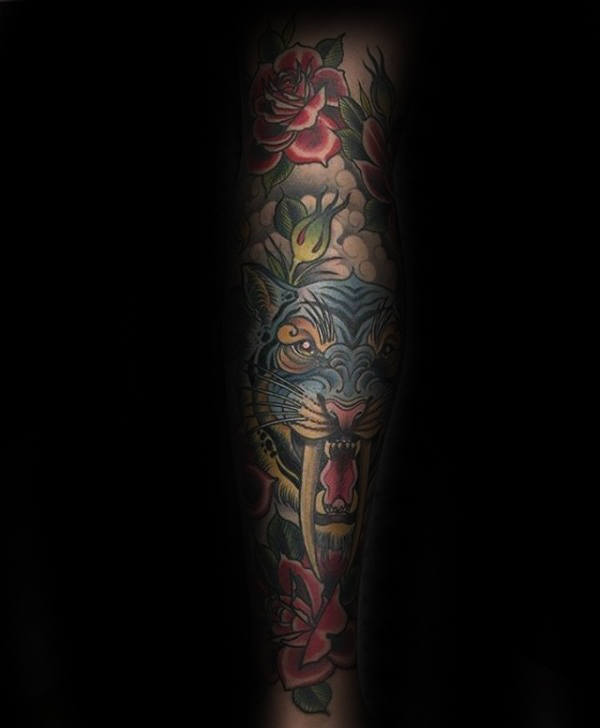 Blue Sabertooth Tiger Male Red Rose Flower Traditional Sleeve Tattoos