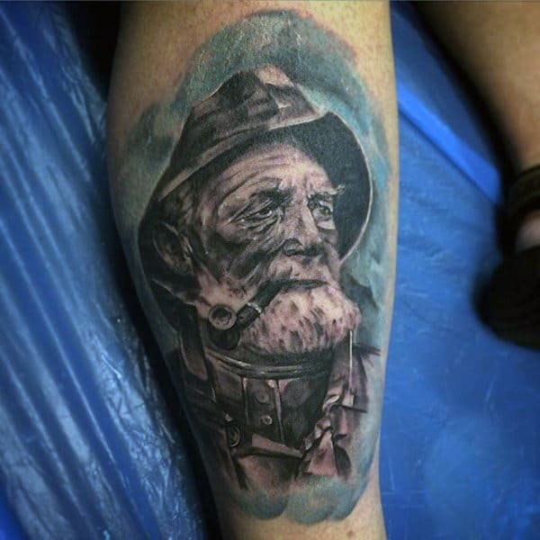 Blue Sailor With Pipe Tattoo For Men On Lower Leg Calf