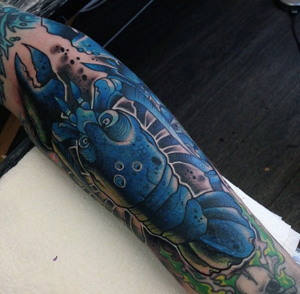 Blue Scorpion Food Tattoo Mens Full Sleeves