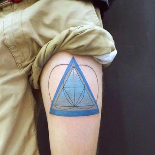 Blue Shaded Triangle With Geometric Circles Tattoo On Arms