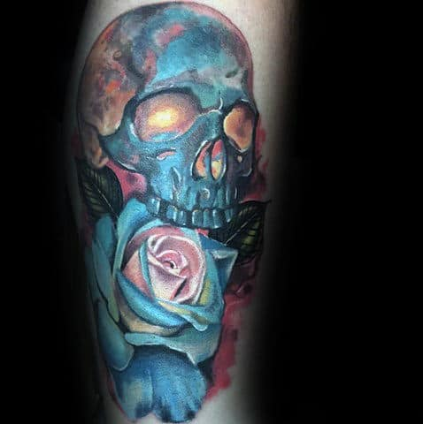 Blue Skull With Realistic Rose Male Arm Tattoo Ideas