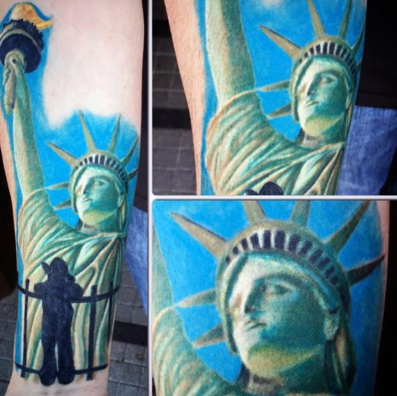 Blue Sky Statue Of Liberty Tattoo For Men