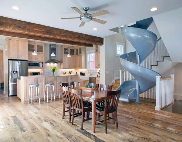 Blue Spiral Living Room Stairs Slide Ideas